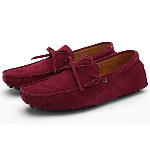 Herren Klassische Slip-on Wildleder Loafers Fahren Halbschuhe Mokassin Lederschuhe Bootsschuhe Weinrot