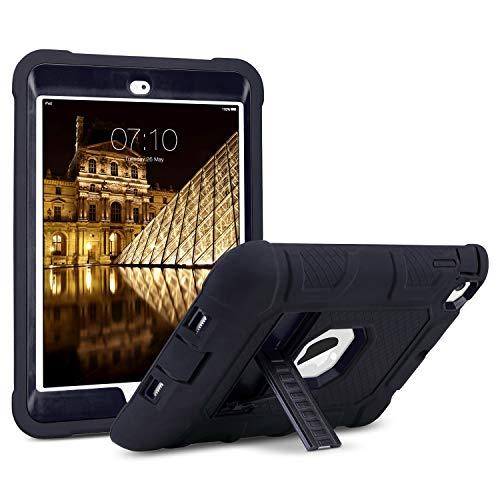 ULAK iPad Mini Hülle, 3in1 Silikon + hartem Polycarbonat Stoßfest Schutzhülle mit Faltbarer Kickstand Tasche Schutzhülle für Apple iPad Mini 1/2/3 (Nicht für Mini 4), Schwarz