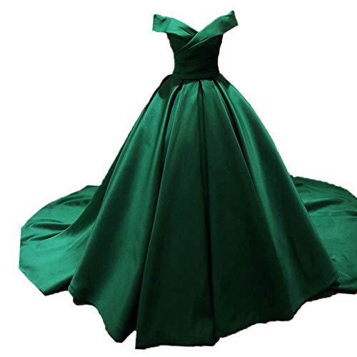 O.D.W Frauen A-Linie Satin Prinzessin Lange Abendmode Brautkleider Vintage Party Ballkleider...