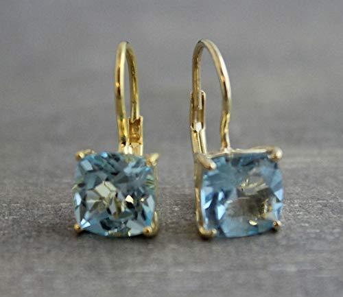 Kissenschliff blauer Topas Gold plattiert 925 Sterling Silber Ohrringe