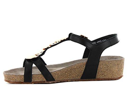 Mephisto Irma Cigale 6200 Black, Wedge T-sandales boucle femme Noir