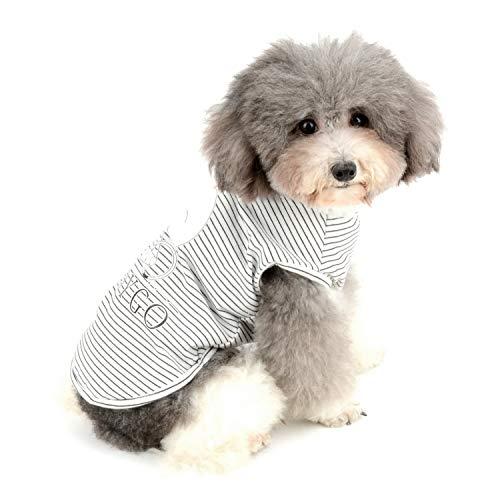 Zunea Hunde-T-Shirts für kleine Hunde Mädchen Jungen gestreift Weste Sommer Tanktop Welpen Kleidung Haustier Katzen Tee Shirt weiche Baumwolle Kleidung Chihuahua Bekleidung (Pyjamas Jungen Kleinen Hund Hund)