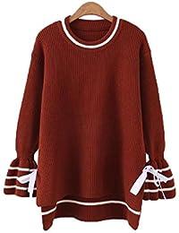 ZGJQ Women s Sweaters Knit Jacket Women s T-Shirt Plus Fertilizer To  Increase The Round Neck 33b2a46b5