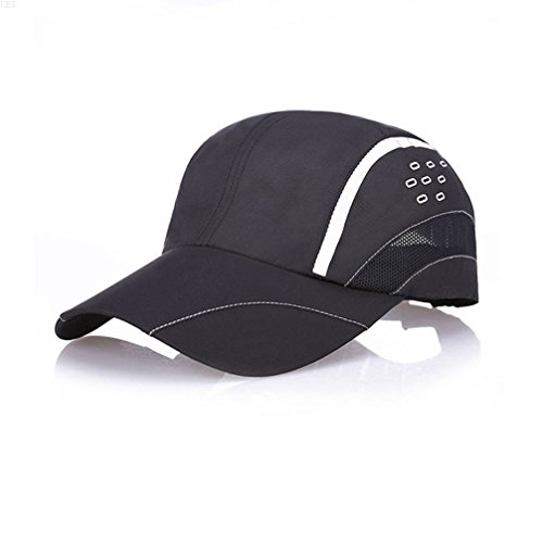 GADIEMKENSD Quick Dry Sports Hat Lightweight Breathable Soft Outdoor Run Cap (Raindrops series, Black)