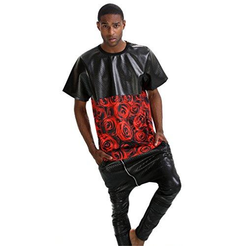 Pizoff Unisex Hip Hop urban schwarz Kunstleder T shirts mit Druckmuster Y0596