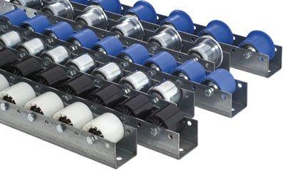 Torwegge 1 Meter Colli-Rollenschienen, Profil 50/58/50x2,5 mm, verzinkt, 1 Stahlrolle mit Spurkranz, Traglast 120 kg, Bauhöhe 65/75 mm, Achsabstand 133 mm