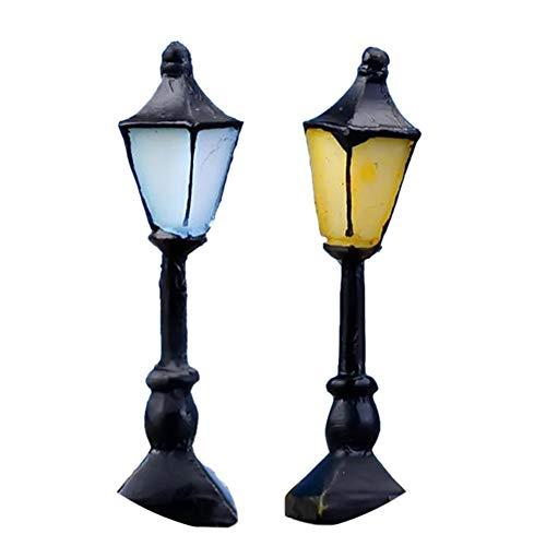 Runfon Sewid Mini-Retro-Straßenlaterne, niedlich, Handbemalt, für Puppenhaus, Miniatur-Gartenornament, Fee, Garten, Dekoration, Gelb + Blau - Handbemalte Mini-lampe