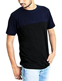 Fabious Half Sleeve Round Neck Stylish Men's Cotton T-Shirt In Solid Navy Blue & Black Color.