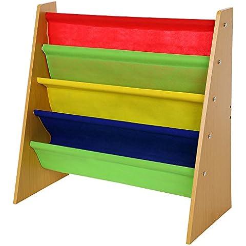 Songmics Biblioteca infantil Librería para niños con 4 compartimientos colgantes GKR05Y