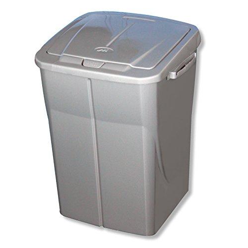 Preisvergleich Produktbild Mondex pls8082–28Roll Top Abfalleimer Tri Selectif zur Mülltrennung, Kunststoff, 36x 36,5x 51cm, 45L, Kunststoff, Metallgrau, 45 L