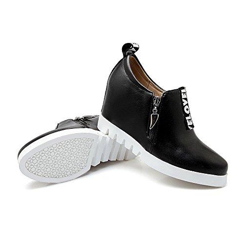 AllhqFashion Femme Pu Cuir à Talon Haut Rond Zip Tire Chaussures Légeres Noir