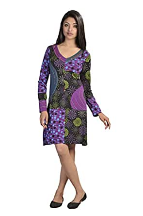 LADIES LONG SLEEVED DRESS WITH EMBROIDERY IN NECKLINE -PURPLE MAGNOLIA (PURPLE-2008-S)