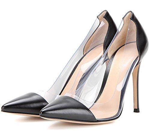 uBeauty Femmes Aiguille Talon Stilettos Slip On Escarpins Transparent Chaussures Enfiler Grande Taille Noir PU