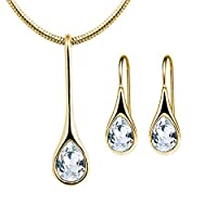Mestige Gold Plated Iris Crystal Jewelry Set - 2 Pieces, MSSE3116