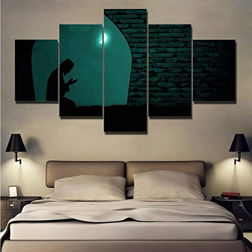 Pmhhc Leinwand Gemälde Home Decor Hd Drucke Bilder 5 Stücke Muslim Beten Nachts Unter Dem Mond Islam Poster Wandkunst-40X60Cmx2 40X80Cmx2 40X100Cm