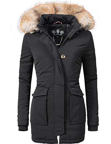 Navahoo Damen Winter-Jacke Winter-Mantel Schneeengel (vegan hergestellt) Schwarz Gr. S - Kurze Kunstfell-mantel