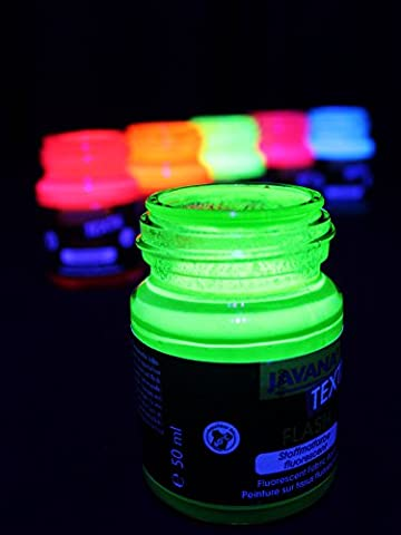 Stock&store Peinture pour textile fluorescente dans le noir, vert, 50 ml