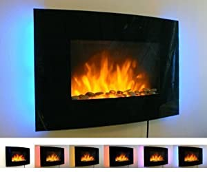 2kW Black Curved Glass Screen Wall Mounted Fire Flame Effect Fireplace with 7 Colour LED Backlights