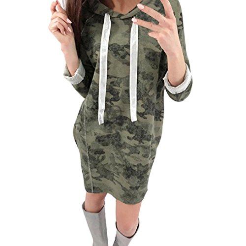 Longra Damen Camouflage Pullover Kleid Shirtkleid Langarmshirt Pulli Kleid Damen Herbst Winter Sweatshirt Hoodie Kapuzenpullover Casual Kleid Frauen Hoodie Kleid Freizeit mit Tasche (XL, Green) (Split-neck Pullover Kleid)