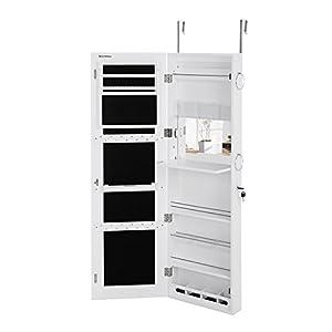 SONGMICS Schmuckschrank extra breiter Spiegel (Rahmenlose Spiegeltür) Türmontage Wandmontage mit Schminktisch Innenspiegel abschließbar Weiß JBC63W