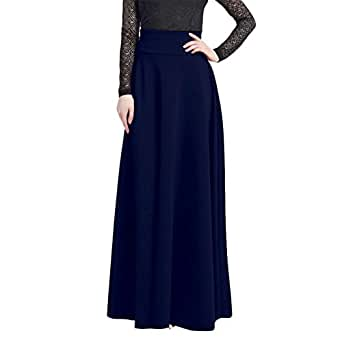 Wodery Le donne Plus Size Maxi Gonna a vita alta lungo tratto solido Dress Skirt Blu 5XL