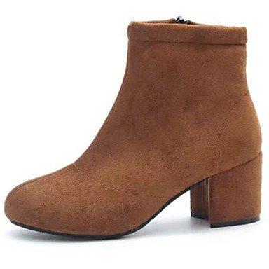 Rtry Femmes Chaussures Molleton Automne Hiver Combat Bottes Bottes Chunky Perle Bout Rond En Plein Air Brun Brun Gris Us6 / Eu36 / Uk4 / Cn36