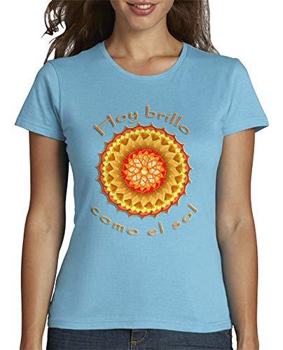 latostadora - Camiseta Brillo como el Sol para Mujer Azul Cielo L