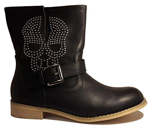Hardcore bottes de pirates avec un crâne, chaussures femme, modèle 11094104009991, beige, gris ou noir, différents modèles et tailles. Noir.