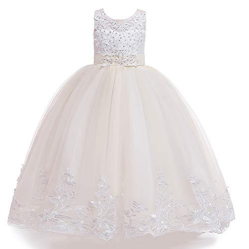 HIZZEEN Elegante Mädchen Hochzeit Prinzessin-Kleid-Spitze-Wulstige Festzug-Stickerei-Ballkleid-Kleid-Partei-Tutu Maxi-Kleid,Champagne,170cm