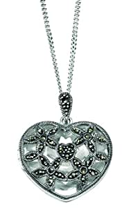 Element Sterling Silver, Ladies, P3038, Heart Shaped Marcasite Locket with Floral Cutout on 46cm Diamond Cut Curb Chain