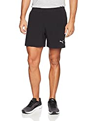 Puma Mens Relaxed Fit Synthetic Shorts (51557101_Black_Large)