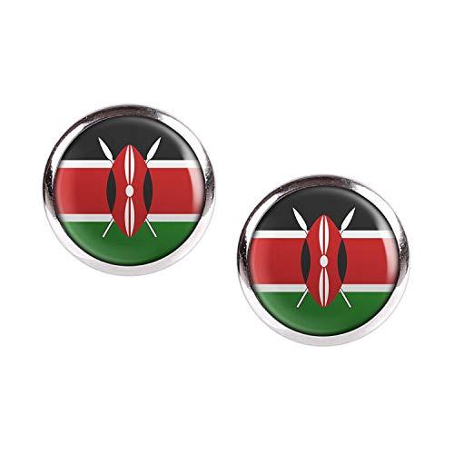 Mylery Ohrstecker Paar mit Motiv Kenia Kenya Nairobi Flagge silber 12mm -