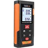 Tacklife HD 60 Classic Distance Meter Laser Distance Meter Rangefinder Min, in/FT (Messbreich 0.05 ~ 60 M/± 2 mm with 2 Level Bubble with Backlight – Black/Orange