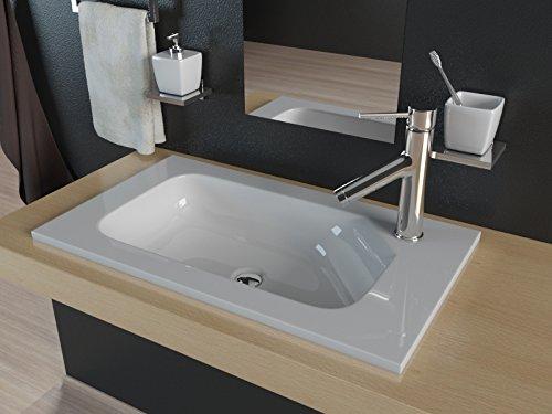 Kerabad Design Einbauwaschbecken Waschtisch Aufsatzwaschbecken für Waschtischplatte und Badmöbel aus Mineralguss 60cm KB-MN600