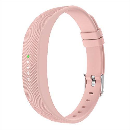 Fitbit Flex 2 Armband, Simpeak Silikon Ersatzband Band Strap für Fitbit Flex 2, mit Edelstahl Gürtelschnalle und Fastener, Rosa
