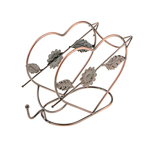 ELECTROPRIME Heart Shape Wine Bottle Holder Rack Bar Desktop Display Stand Bracket Copper