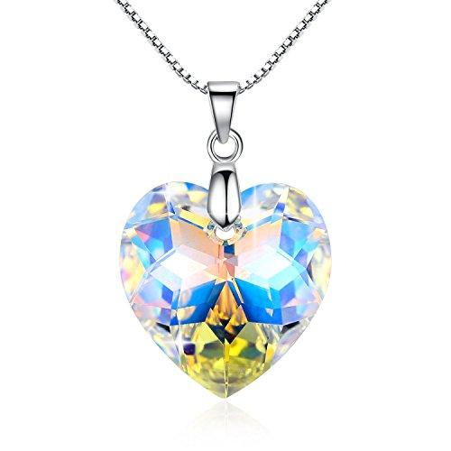 GoSparking Aurora Borealis cristallo Ciondolo collana in argento Cuore con cristallo austriaco per le donne