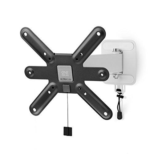 Ultra Slim TV-Wandhalterung von One For All Drehen (90°) und Neigen (15°)- Wandhalterung - TV-Bildschirmgröße 13-42 Zoll - Für alle TV-Gerätetypen - Schwarz Weiß - WM6241