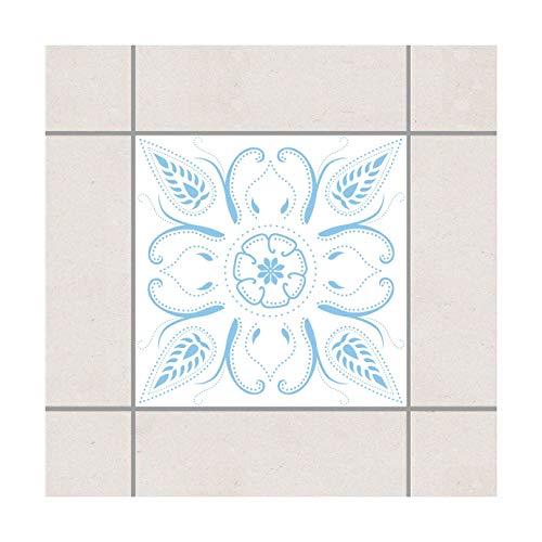 (Pattern Design GmbH Fliesen Aufkleber–Bandana Weiß Licht Blau 15cm x 15cm, Setgröße: 10teilig)