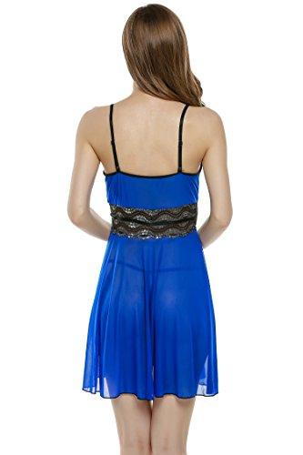 ZEARO Mode Femmes Dentelle Sexy Sous-Vêtements Lingerie Nuisette Transparent avec Bretelle-Robe de Nuit avec G-String Bleu