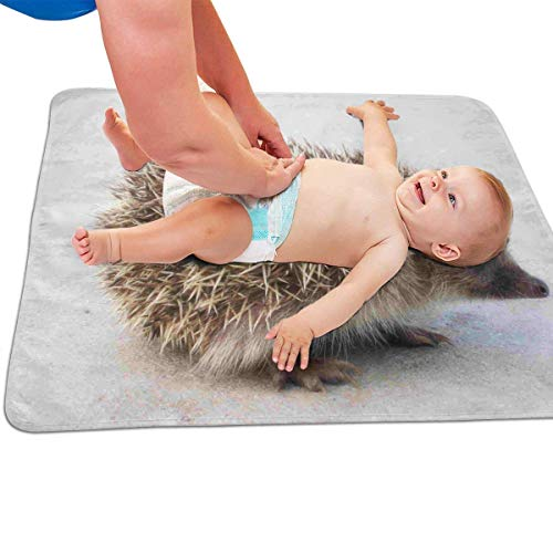 Zcfhike Baby Portable Diaper Changing Pad Small Hedgehog Urinary Pad Baby Changing Mat 31.5' x25.5''