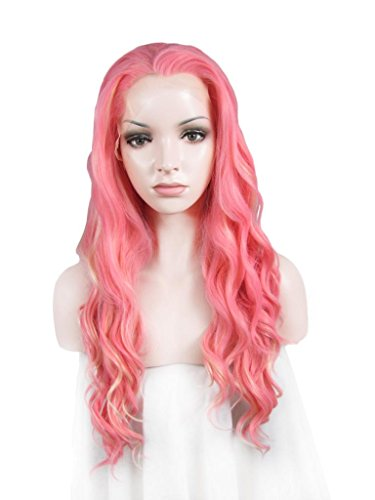 Imstyle Sweet Girl Synthetic Long Wavy Lolita Pink Mixd Blonde Two Tone Fashion Lace Front Wig by IMSTYLE (2-ton-blonde Perücke)