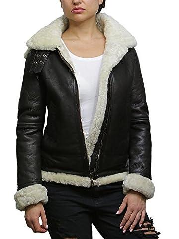 Brandslock Dames femmes capuche Aviator réel en peau de mouton en peau de mouton volant Manteau Veste en cuir (5XL/22, Creme)