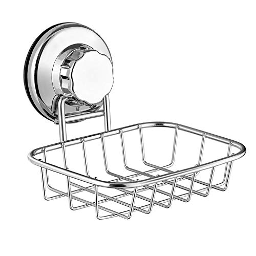 SANNO Soap Dish Holder, Soap Saver with Suction cups Bar Sponge Holder for Shower, Bathroom, Tub and Kitchen Sink - Rustproof Stainless Steel