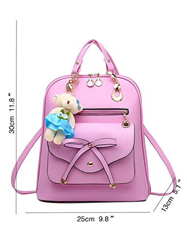 Menschwear PU Zaino Satchel Daypack sacchetto di scuola Blu Rosa