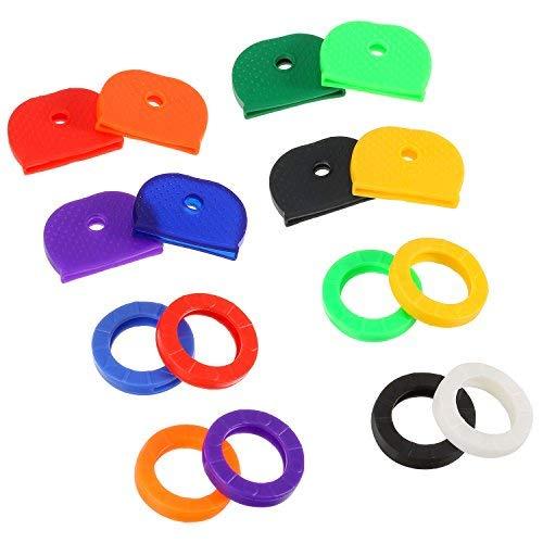 64Stück Gap Schlüsselbezeichnung Tag deckt Ring-Etiketten Gummi Tastenkappen