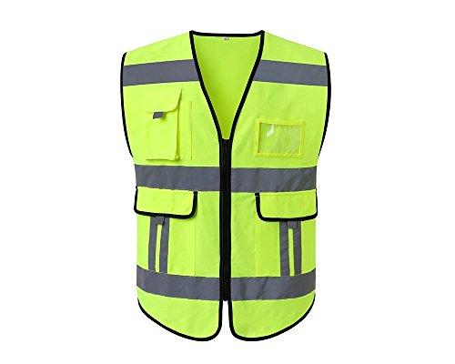 Lantra Besa Damen Herren Sicherheitsweste Warnweste für Radfahren und Joggen mit Reißverschluss und Taschen Hohe Sichtbarkeit Gelb AR0014 - Nicht-Standardgröße XL