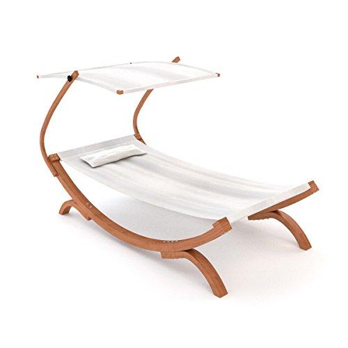 Sonnenliege Panama mit Dach cremeweiß   Gartenliege mit Holzgestell wetterfest   Sonnendach verstellbar   Liege mit Kissen für Garten und Terrasse