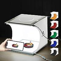 مجموعة استديو تصوير تتضمن صندوق اضاءة قابل للطي بمقاس 24 × 23 × 22 سم مع 6 خلفيات مزودة باضاءة بيضاء والوان مختلفة ولوحة ليد مضيئة دون ظلال لتصوير المنتجات الصغيرة من بولوز