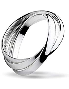 Bling Jewelry Unisex Sterling-Silber Rolling Dreifach Russische Ehering